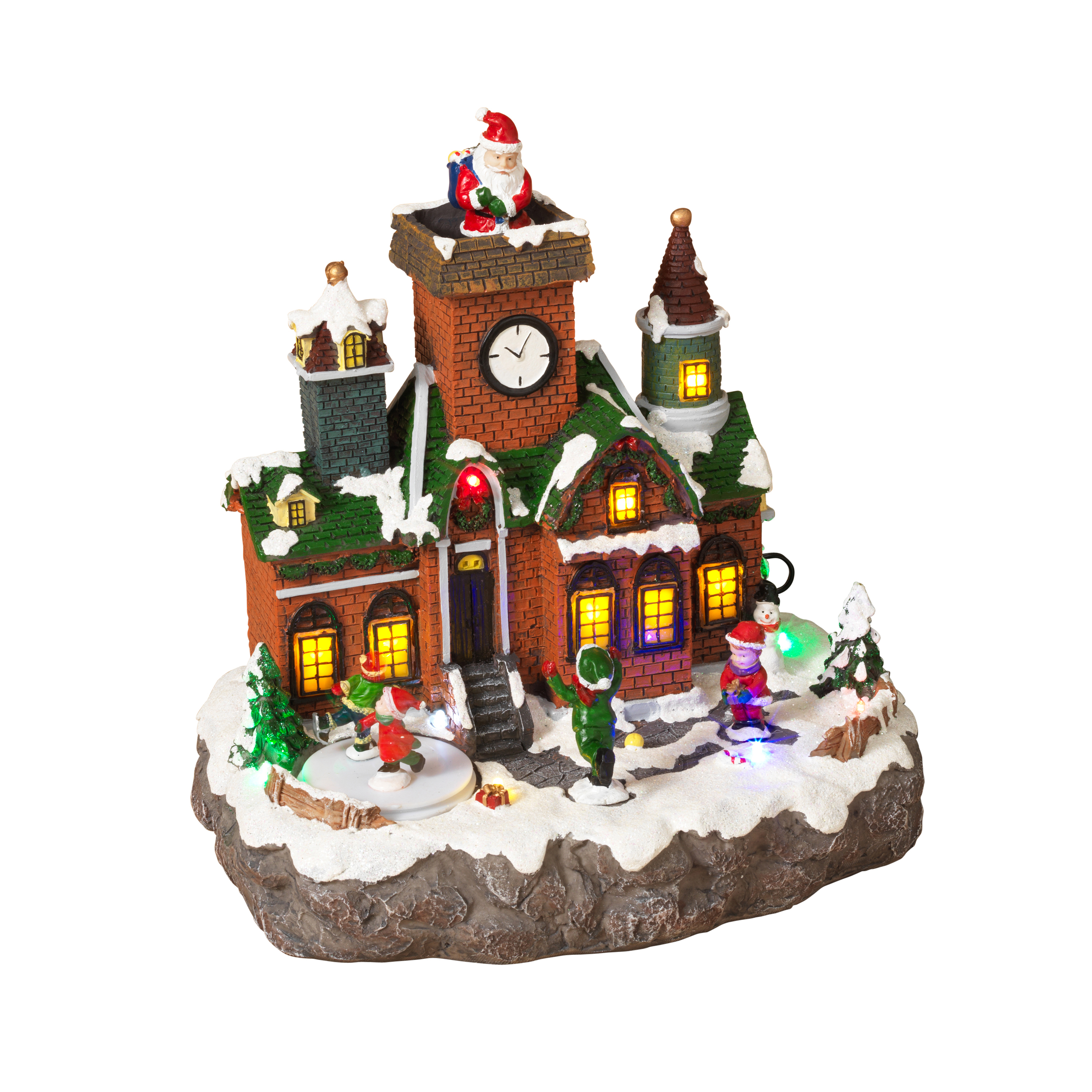 Brick Building Holiday Village Scene With Moving Figurines