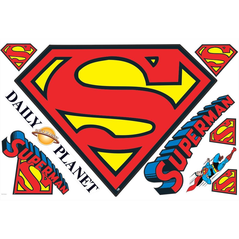 Superman Logo Dry Erase Peel and Stick Giant Wall Decals