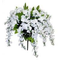 Admired by Nature Artificial Wisteria Hanging Flowers Bush, White