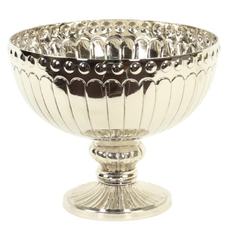 Koyal Wholesale Silver Metal Pedestal Bowl 10 x 8-Inch Floral Compote Vase, For Wedding Centerpiece