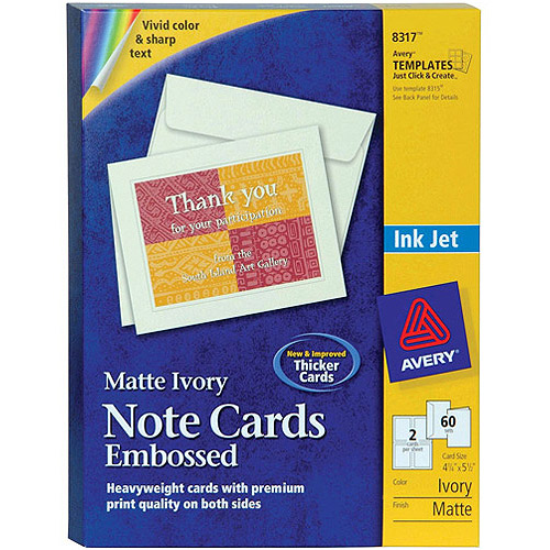 "Avery Note Cards 8317, 4-1/4"" x 5-1/2"", Ivory, Matte, Box of 60"