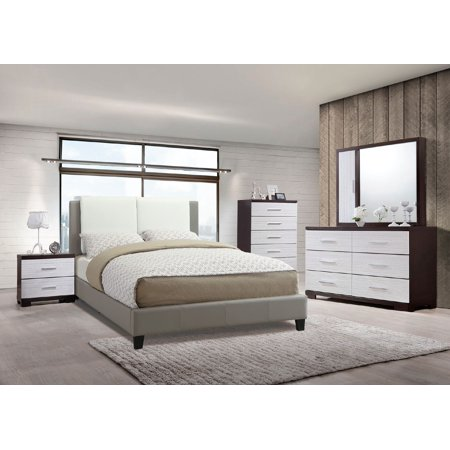 Modern Beautiful White Grey Faux Leather Bedframe 4pc Bedroom Set Queen Size Bed Dresser Mirror Nightstand ()