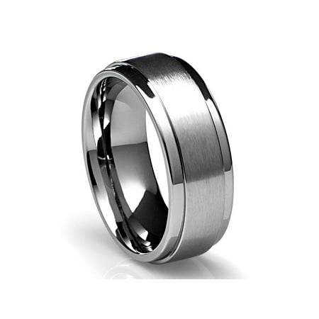 Mens Wedding Band in Titanium 8MM Ring with Flat Brushed Top and Polished Finish Edges Flat Grooved Wedding Ring