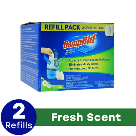 DampRid Fresh Scent Drop-in Tab Refill - 2 Pack Moisture Absorber