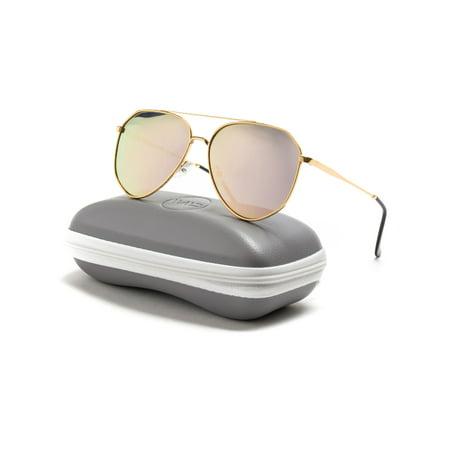 WearMe Pro - Classic Polarized Designer Inspired Medium Metal Frame Aviator Sunglasses