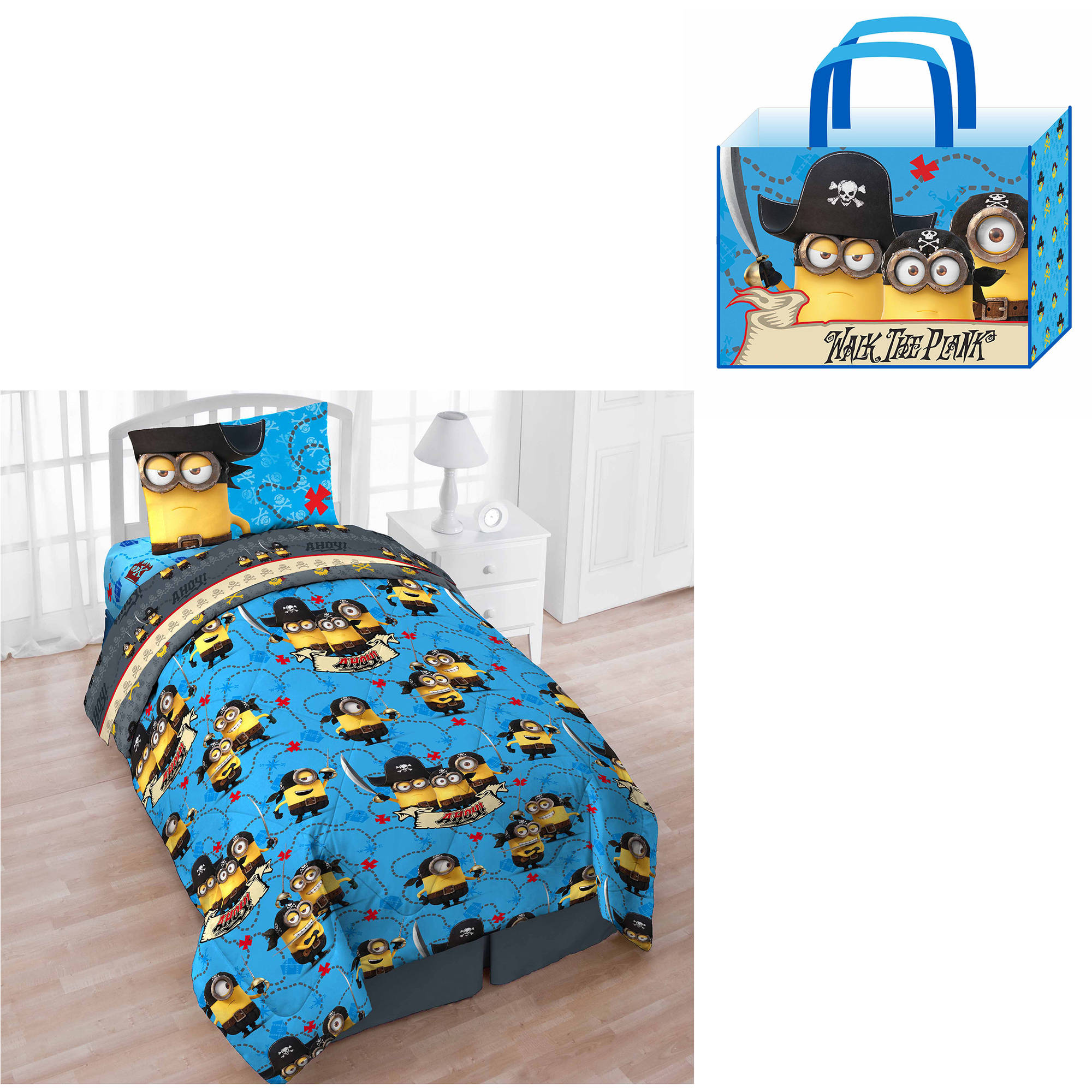 Universal's Despicable Me Minions Treasure Cove Twin 4-Piece Bed in a Bag with Bonus Tote