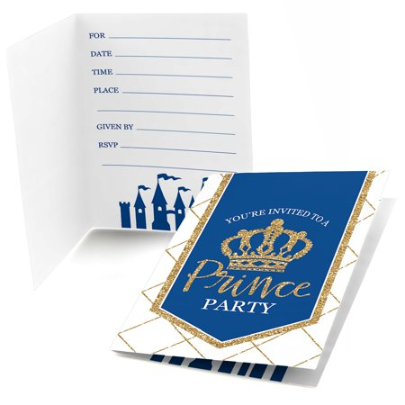 Royal Prince Charming - Fill In Baby Shower or Birthday Party Invitations (8 count) (Royal Prince Baby Shower Ideas)