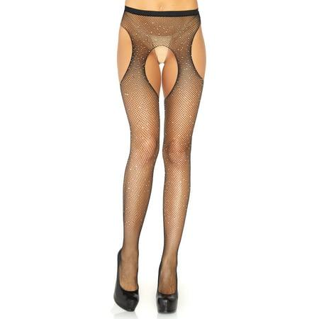 Fishnet Suspender - Leg Avenue Women's Crystalized Fishnet Suspender Pantyhose