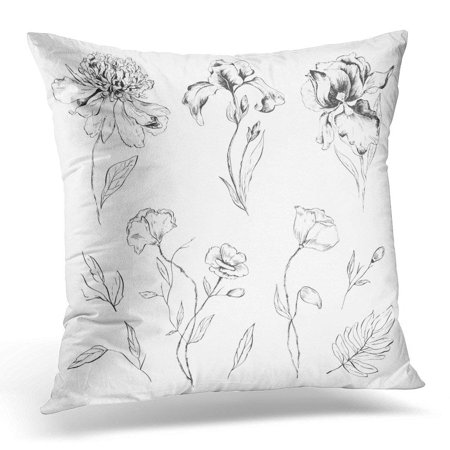 ARHOME Hand of Flowers Peony Iris Poppies and Leaves Design for Packages Labels and Other Floral Pillows case 20x20 Inches Home Decor Sofa Cushion Cover (Package Of Leaves)