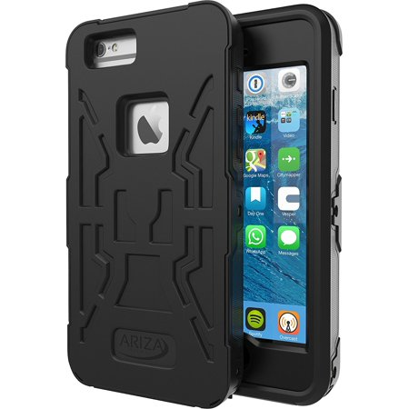 Ariza Imperial 4.7-Inch Waterproof Case with Lanyard Strap and Built in Screen Protector for iPhone 6 / 6s - Black (Waterproof Case For Iphone 6)