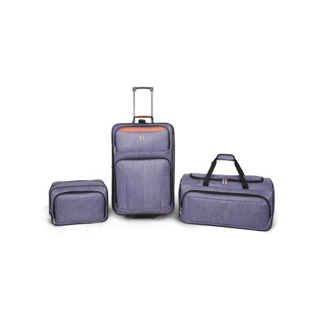 Protege 3 Piece Luggage Travel Set Gray, Includes 24-inch Check Bag, 22-inch Duffel, and Boarding Tote