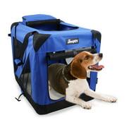 """Jespet Folding Soft Sided Dog Crate, Blue, 30""""L x 21""""W x 23""""H"""
