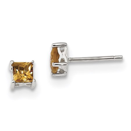 925 Sterling Silver 4mm Princess Yellow Citrine Post Stud Earrings Birthstone November Prong Fine Jewelry For Women Gift Set