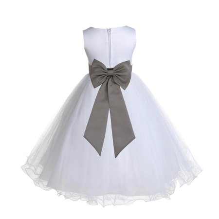 Ekidsbridal Satin White Mercury Tulle Rattail Edge Christmas Junior Bridesmaid Recital Easter Holiday Wedding Pageant Communion Princess Birthday Girl Clothing Baptism 829T size 2 Flower Girl Dress