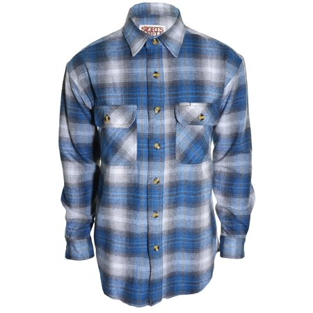 Sports Afield Mens Heavy Duty Flannel Shirt Highland Blue
