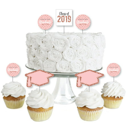 Rose Gold Grad - Dessert Cupcake Toppers - 2019 Graduation Party Clear Treat Picks - Set of 24