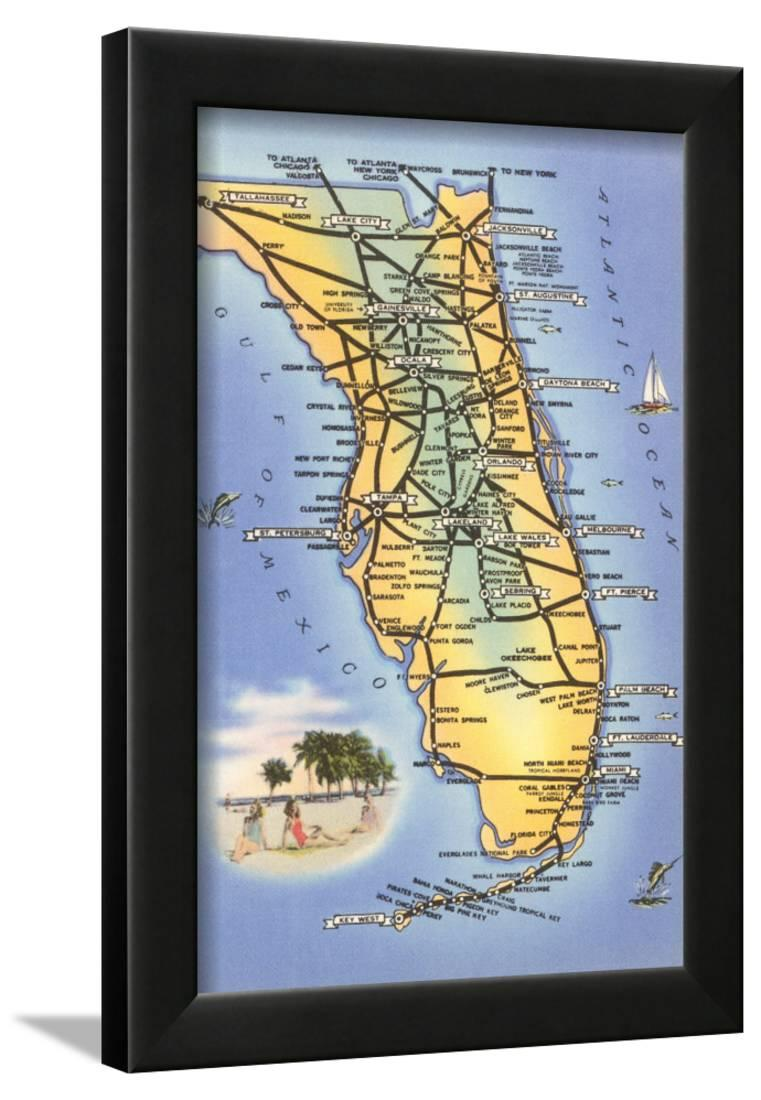 Map Of Florida Framed Print Wall Art Walmart Com