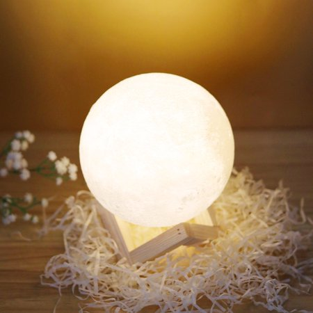 TSV 3D Printing Moon LED Lamp Night light Smart Touch Switch Battery Powered USB Charging 2 Modes Lunar Table Lamp with Lamp Holder Stand Kids Room Home Decor Christmas Gift Amber Victorian Table Lamp