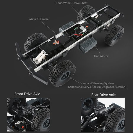 JJRC Q60 1:16 2.4G 2CH 6WD Remote Control Tracked Off-Road Military Truck RC Car RTR  Brush motor Birthday Gifts - image 6 de 12