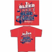 """Florida Hockey """"I Bleed Red and Blue, Go Florida"""" T-Shirt, Red"""