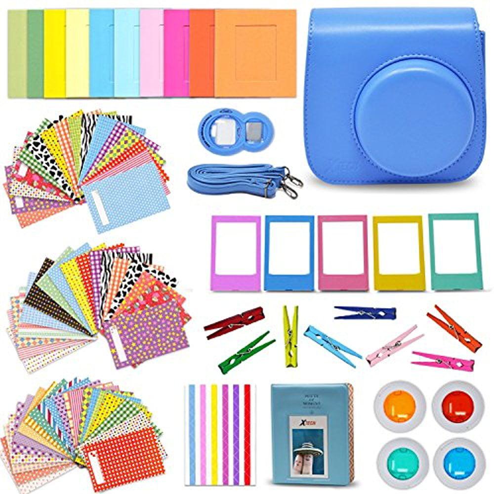 Xtech Fuji Instax Mini 9 8 Accessories Kit includes Cobalt Blue Camera Case, Mini Photo Album, 120 Colorful... by HeroFiber