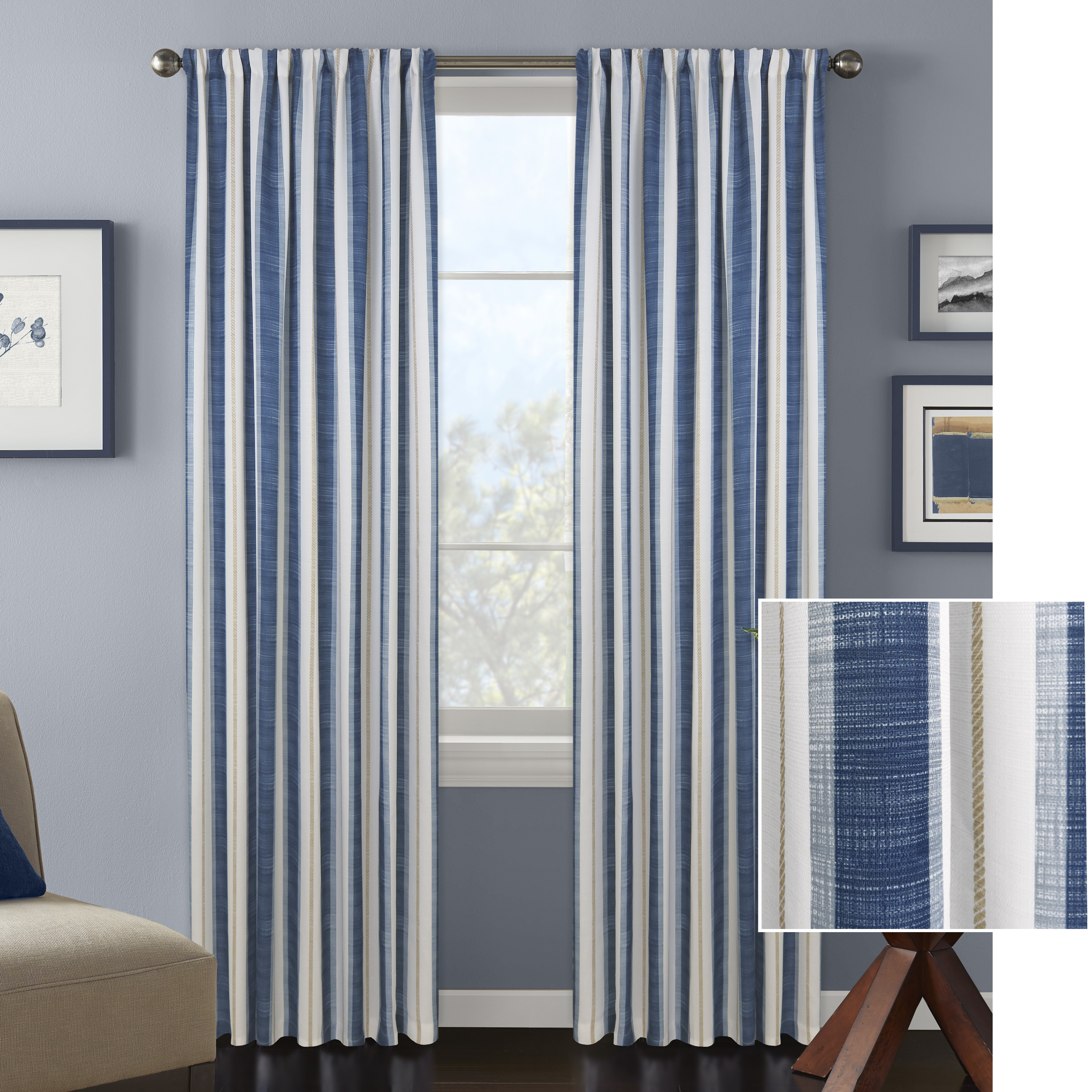 Better Homes and Gardens Vertical Stripes Window Curtain Panel
