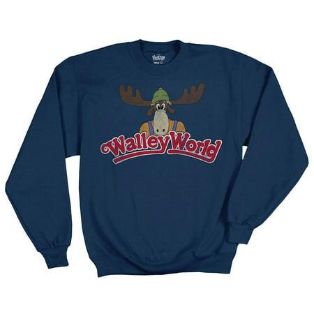 National Lampoons Vacation Wally World Logo Adult Crewneck Fleece Navy - Vacation Wally World