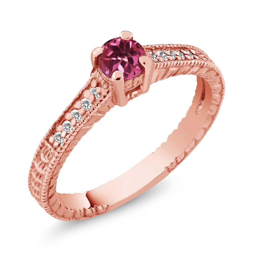 0.33 Ct Round Pink Tourmaline White Sapphire 925 Rose Gold Plated Silver Ring