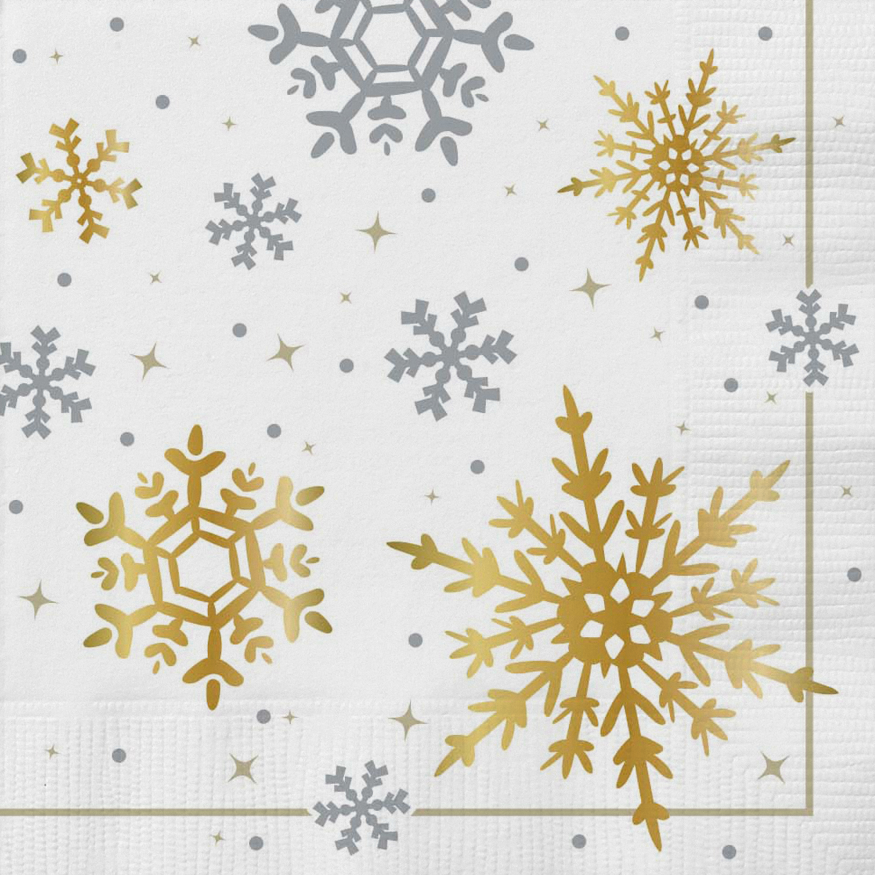 Foil Gold & Silver Snowflake Christmas Party Napkins, 18ct