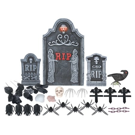24PC LIGHTED GRAVE SET-TWIN REAPERS