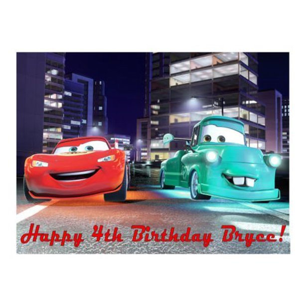 Surprising 1 4 Sheet Lightning Mcqueen Cars 2 Edible Frosting Cake Topper Birthday Cards Printable Opercafe Filternl