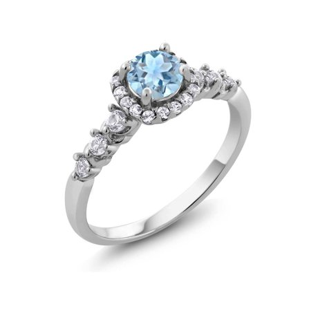 1.12 Ct Round Sky Blue Topaz and White Created Sapphire 925 Sterling Silver Ring ()