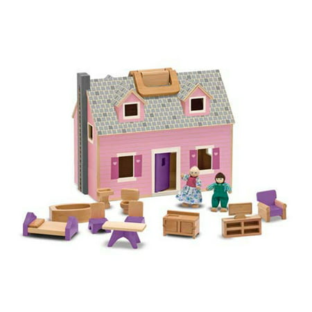 Melissa Doug Fold And Go Wooden Dollhouse With 4 Dolls And Wooden Furniture