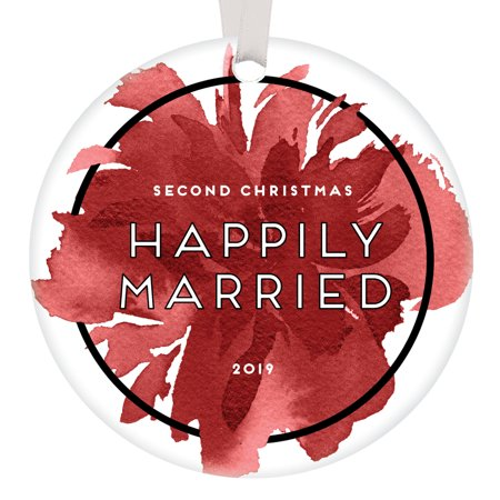 Second Christmas Happily Married 2019 Ornament 2nd Holiday Husband & Wife Wedding Anniversary Keepsake Presents Marriage Partner Gift Ideas Pretty Watercolor Memento 3