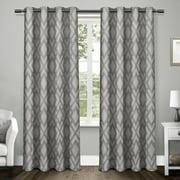Exclusive Home Curtains 2 Pack Easton Jacquard Blackout Grommet Top Curtain Panels