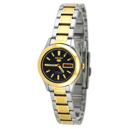 Seiko 5 SYMD94 Women's Two Tone 21 Jewels Black Dial Day Date Automatic