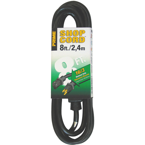 Prime Wire 8-Foot 16/3 SJTW Indoor and Outdoor Extension Cord, Black