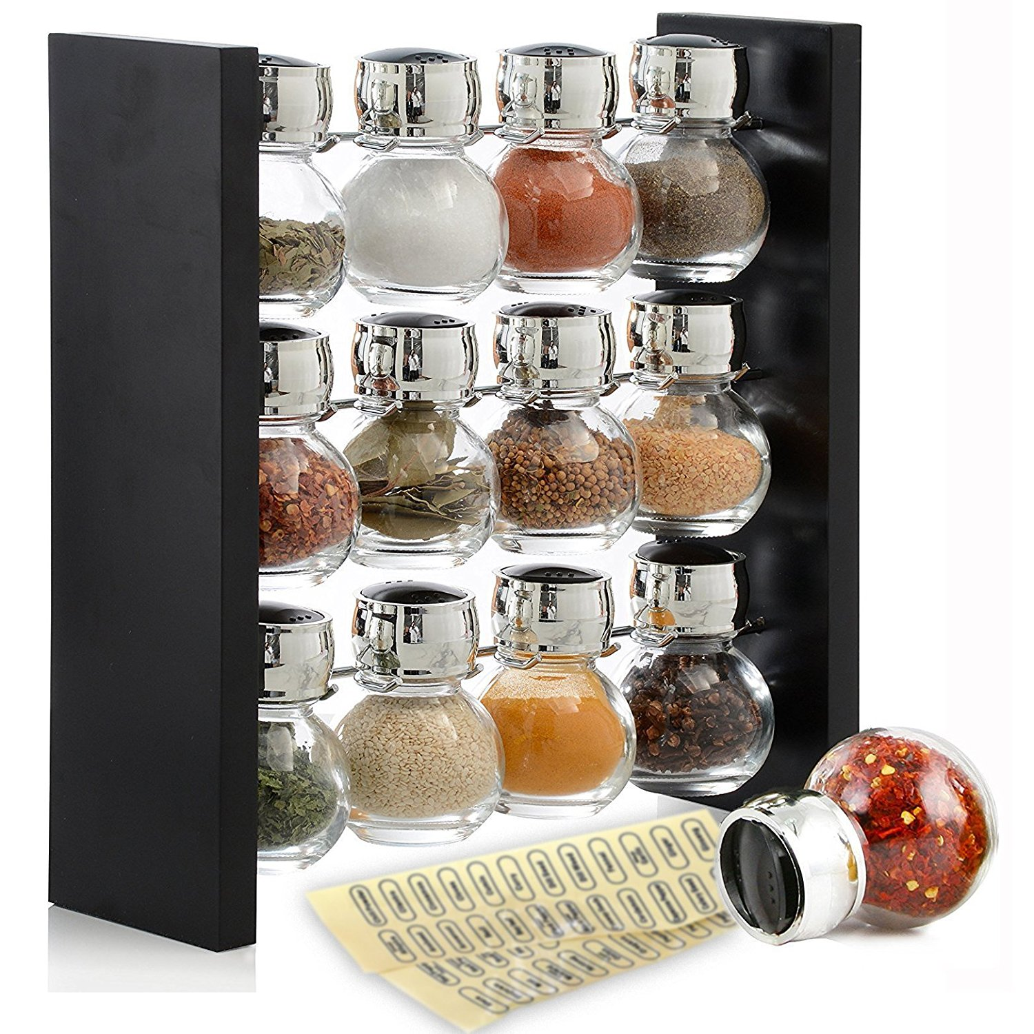 Spice Rack Stand with 12 Clear Glass Bottles Sleek and Kitchen Organizer