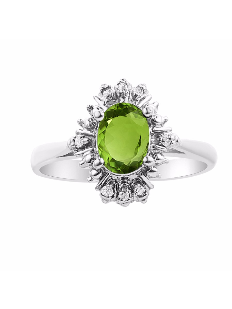 Details about  /Platinum Plated 925 Sterling Silver Ring w// Natural Peridot /& Diamonds