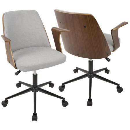 Verdana Mid-Century Modern Office Chair in Walnut Wood and Grey Fabric by
