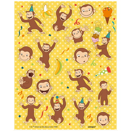 Curious George Sticker Sheets, - Tropical Sticker Sheet