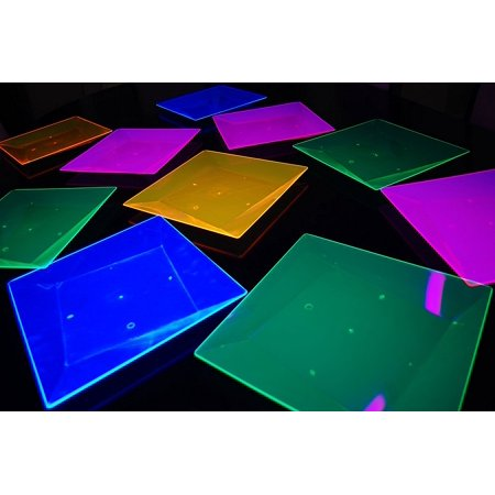 Blacklight Reactive 10ct Square Party Plates + FREE Blacklight Balloons (10.75 inch), Blacklight reactive ONLY. Does NOT glow in the dark! By DirectGlow LLC,USA - Glow In Dark Balloons