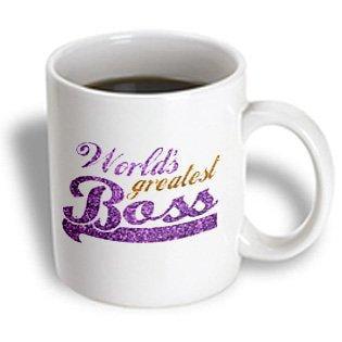 3dRose Worlds Greatest Boss - Best work boss ever - purple and gold text - faux sparkles matte glitter-look, Ceramic Mug,