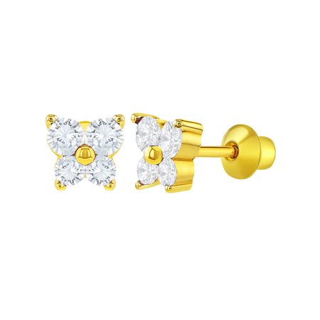 18k Gold Plated Crystal Butterfly Girl Children Screw Back Baby -