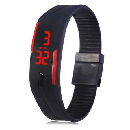 LED Watch Red Subtitles Date Rubber Strap Rectangle