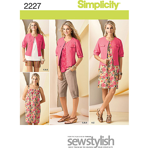Simplicity Pattern Misses' Sportswear, Dress or Top/Capri Pants or Shorts/Jacket(6, 8, 10, 12, 14)