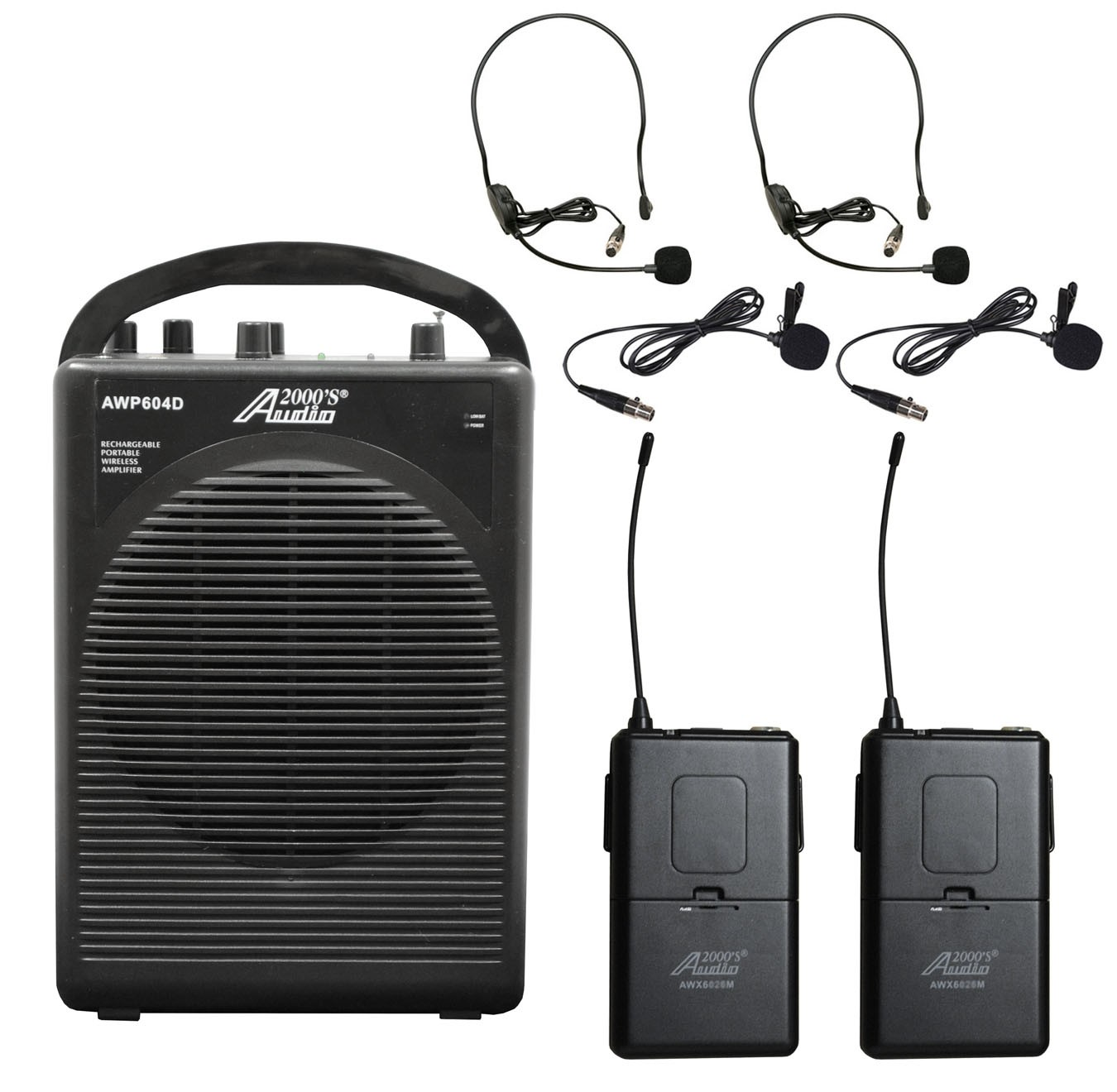 Audio2000 AWP604DM 25W Dual Channel Combo Wireless Microphone Battery Powered PA System... by