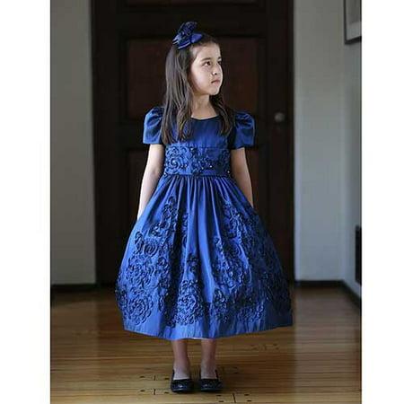 Angels Garment Navy Embroidered Christmas Dress Little Girls 2T-6 for $<!---->