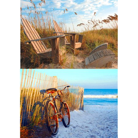 Beach Scenes: 2 Lenticular 3D Postcard Greeting Cards - Bicycle on beach & Adirondack (Beach Postcards Package)