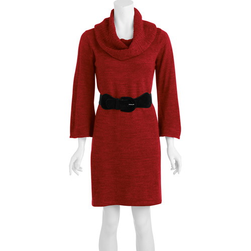Women's Circular Scarf Boatneck Dress